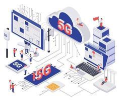 Modern 5G Internet Isometric Concept vector