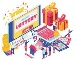 Lottery Isometric Design Concept Set vector