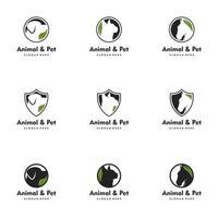 Animal Pet logo Dog, Cat, Hourse. Logo set vector icon illustration