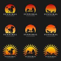 Horse, Dog, Cat with sun logo design Animals set illustration vector