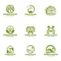 Green house and home leaf logo set vector icon illustration design