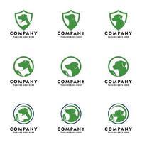 pet care logo dog logo set vector icon illustration design