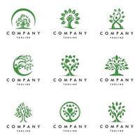 people ecology tree logo set vector icon illustration design