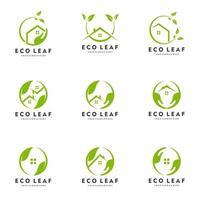 Home leaf, Green house, Eco house logo set vector icon illustration