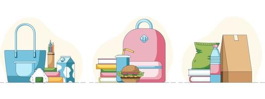 Set of a lunch fastfood sushi and chips in front of a books and bags vector