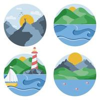 Circle icons of landscapes with different views. vector