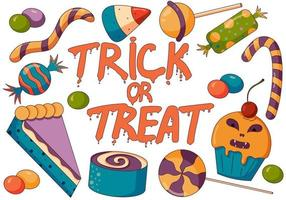 Concept illustration of trick or treat candy mix, halloween party. vector
