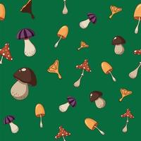 Seamless pattern of a coloured mushrooms, poisoned and healthy. vector