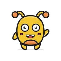 cartoon yellow monster suitable for element design or background vector