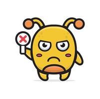 cartoon yellow monster holding sign vector