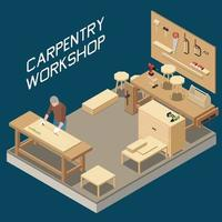 Carpentry Workshop Isometric Composition vector