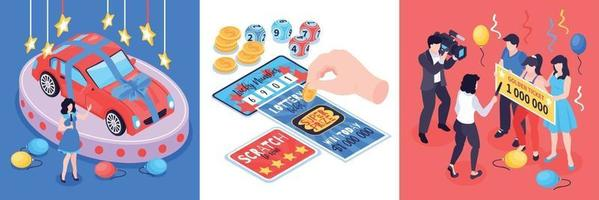 Isometric Lottery Design Concept vector