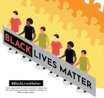fondo isométrico de la materia de las vidas negras vector