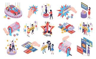 Fortune Lottery Isometric Icons vector