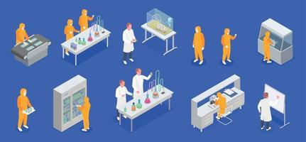 Pharmaceutical Production Icon Set vector
