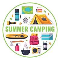 Camping Cartoon Composition vector