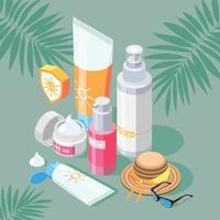 Sunscreen Products Isometric Composition vector