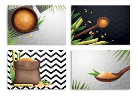 Four Cane Sugar Realistic Composition Set vector