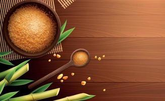 Cane Sugar Colored Realistic Composition vector