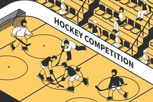 Hockey Competition Isometric Illustration vector