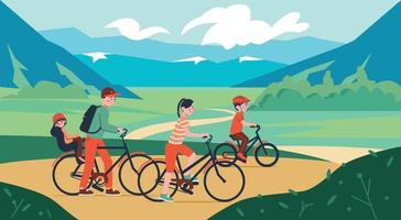 Family Bicycle Walk Composition vector