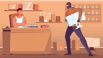 Pawnshop Robbing Illustration vector
