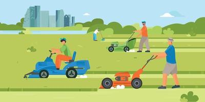 Lawn Mowers Flat Composition vector