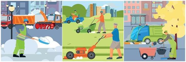 Street Cleaning Compositions Set vector