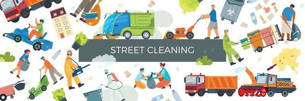 Street Cleaning Pattern Composition vector