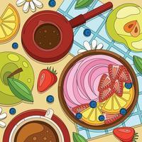 Coloring Yoghurt Breakfast Composition vector