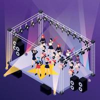 Pop Music Isometric Background vector