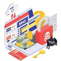 Data Protection Isometric Composition vector