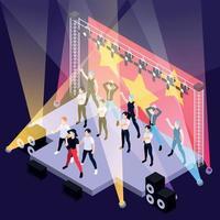 K Pop Music Isometric Background vector