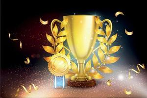 Golden Cup Medal Background vector