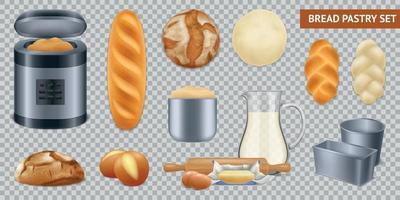 Baking Bread Transparent Set vector
