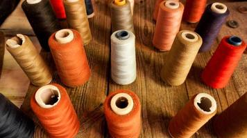 Skeins of thread. Sewing workshop. Multicolored threads photo