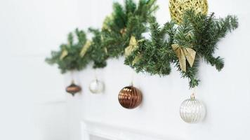 Christmas wreath, Christmas Decorations, background, lights and balls photo