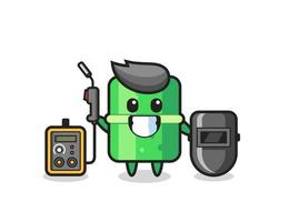 Character mascot of bamboo as a welder vector