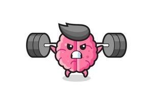brain mascot cartoon with a barbell vector