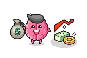 brain illustration cartoon holding money sack vector