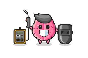 Character mascot of brain as a welder vector