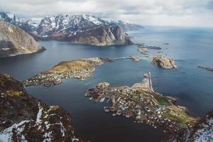 Scenic landscape of Lofoten islands peaks, lakes, and houses photo