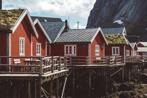 Red fishermen's houses by mountains photo
