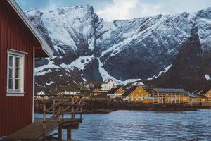 Norway rorbu houses and mountains photo