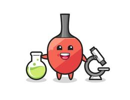 Mascot character of table tennis racket as a scientist vector
