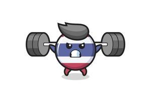 dibujos animados de la mascota de la insignia de la bandera de tailandia con una barra vector