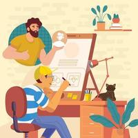 Designer Collaborate With Programmer Concept vector