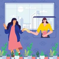 Two Woman Collaborate in Finishing Business Matters Concept vector