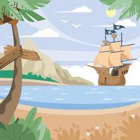 Pirate Ship Near Shore Background vector