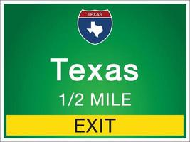 Highway signs before the exit To Texas Of United States vector